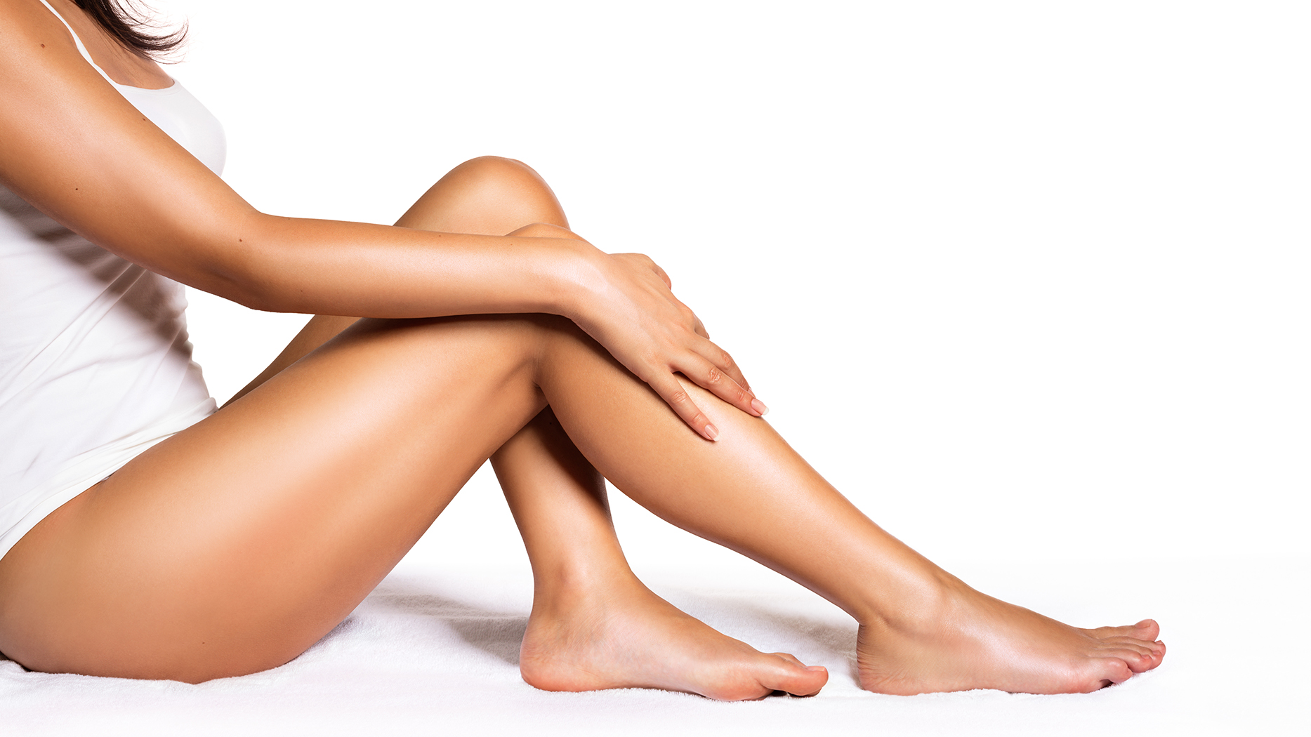 Lady with shaved and toned legs